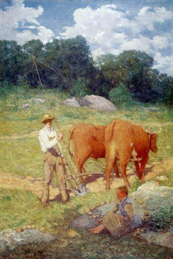 Ploughing for Buckwheat | Julian Alden Weir | oil painting