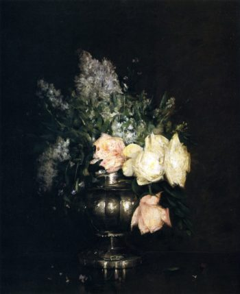 Roses and Lilacs | Julian Alden Weir | oil painting