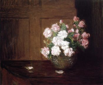Roses in a Silver Bowl on a Mahogany Table | Julian Alden Weir | oil painting