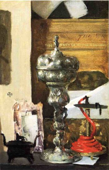 Silver Chalice Japanese Bronze and Red Tapir | Julian Alden Weir | oil painting