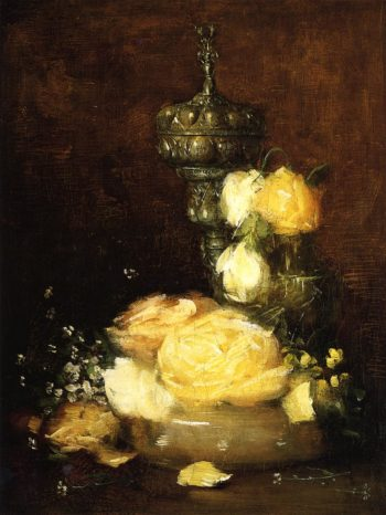 Silver Chalice with Roses | Julian Alden Weir | oil painting