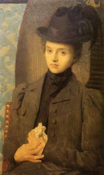 The Black Hat   Julian Alden Weir   oil painting
