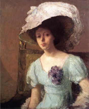 The Blue Gown   Julian Alden Weir   oil painting