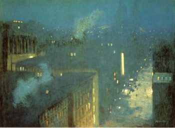 The Bridge Nocturne   Julian Alden Weir   oil painting