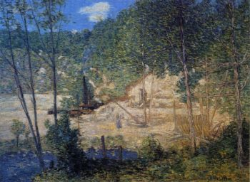 The Building of the Dam | Julian Alden Weir | oil painting