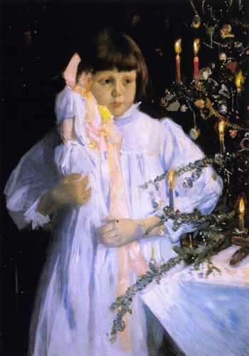 The Christmas Tree | Julian Alden Weir | oil painting
