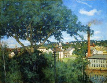 The Factory Village   Julian Alden Weir   oil painting