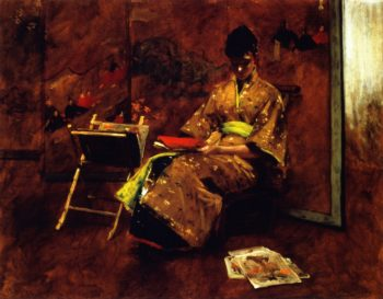 A Girl in Japanese Gown | William Merritt Chase | oil painting