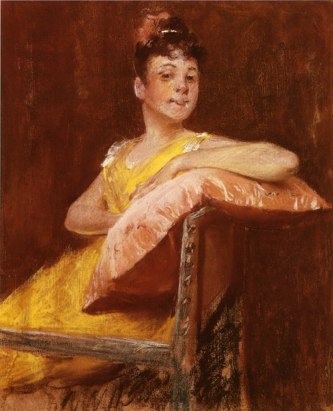A Girl in Yellow | William Merritt Chase | oil painting