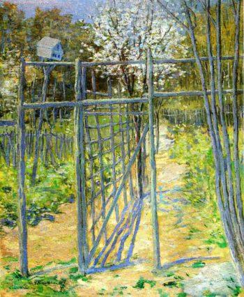 The Grey Trellis   Julian Alden Weir   oil painting