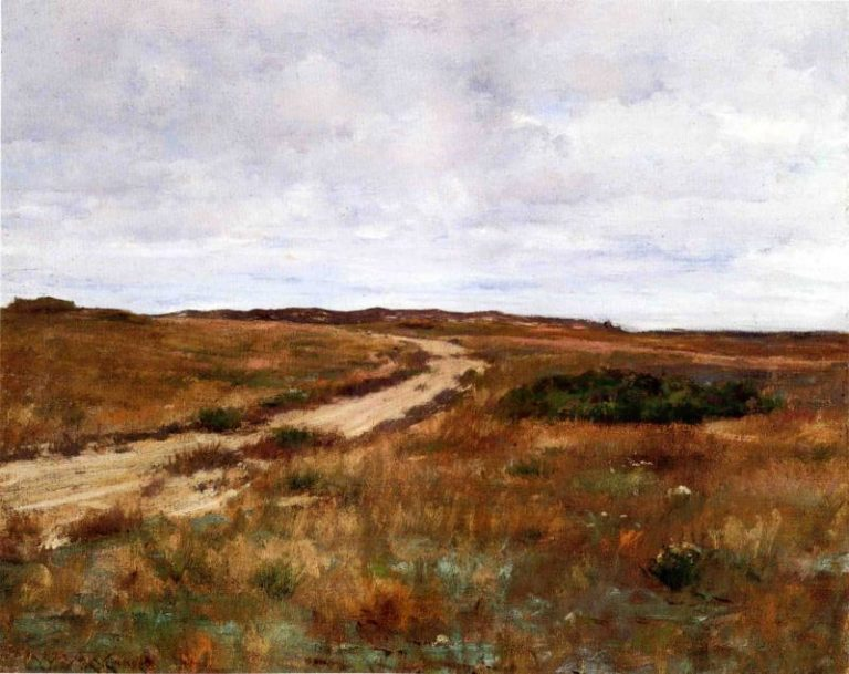 A Hinterland Landscape with Road   William Merritt Chase   oil painting