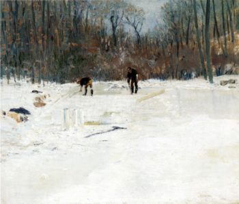The Ice Cutters   Julian Alden Weir   oil painting