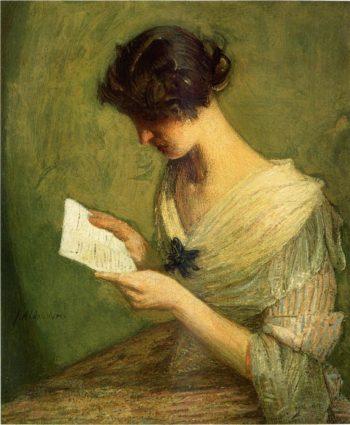The Letter   Julian Alden Weir   oil painting