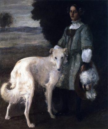 Alice with Wolfhound | William Merritt Chase | oil painting