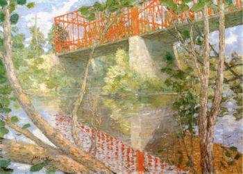 The Red Bridge   Julian Alden Weir   oil painting