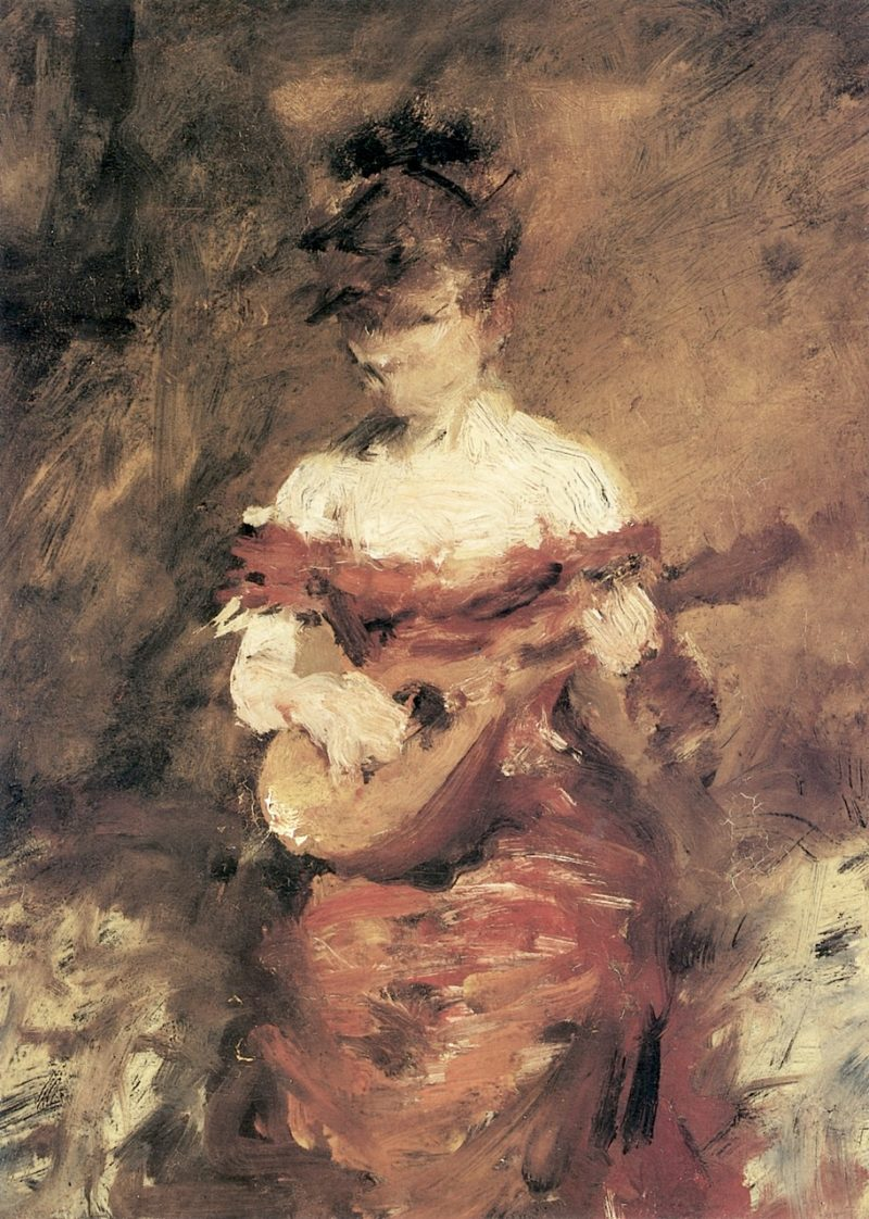 A Mandolin Player   William Merritt Chase   oil painting