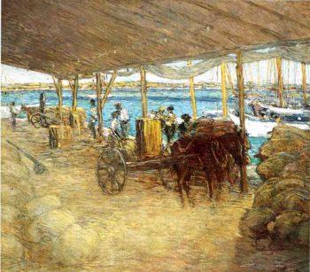 The Wharves Nassau   Julian Alden Weir   oil painting
