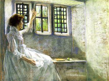 The Window Seat   Julian Alden Weir   oil painting