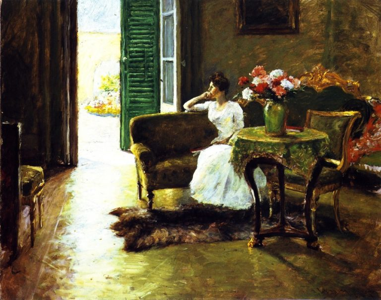 A Memory In the Italian Villa | William Merritt Chase | oil painting