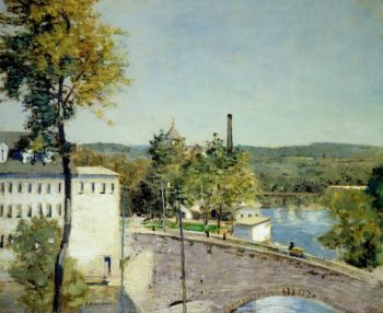 U S Thread Company Mills Willimantic Connecticut   Julian Alden Weir   oil painting