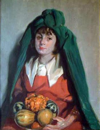 Chica con frutero | Julio Vila Prades | oil painting