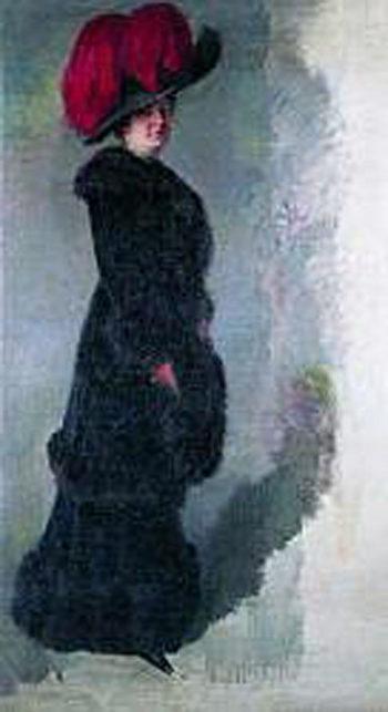 Dama con sombrero de plumas rojas | Julio Vila Prades | oil painting