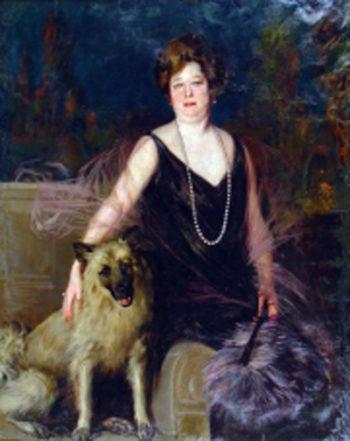 Mujer con perro | Julio Vila Prades | oil painting