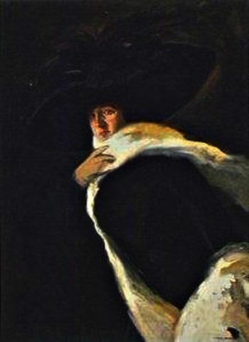 Mujer con Sombrero | Julio Vila Prades | oil painting
