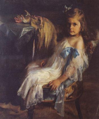 Nia sentada | Julio Vila Prades | oil painting