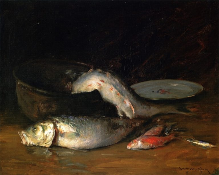 Big Copper Kettle and Fish | William Merritt Chase | oil painting