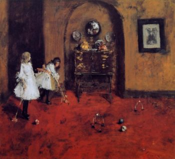Children Playing Parlor Croquet | William Merritt Chase | oil painting