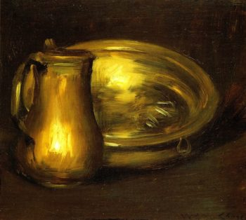 Copper Pitcher and Brass Bowl | William Merritt Chase | oil painting