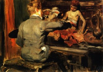 Duveneck Painting the Turkish Page | William Merritt Chase | oil painting