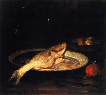 Fish on a Blue and White Plate | William Merritt Chase | oil painting