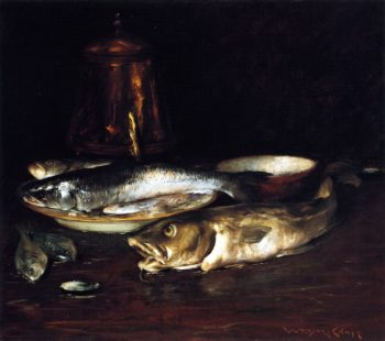 Fish Plate and Copper Pot | William Merritt Chase | oil painting