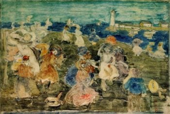 Beach Scene with Lighthouse | Maurice Prendergast | oil painting