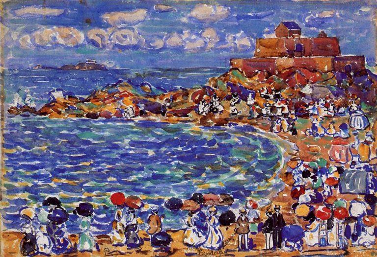 Beach St Malo   Maurice Prendergast   oil painting