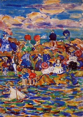 Beach St Malo | Maurice Prendergast | oil painting
