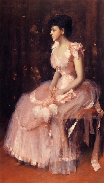 Portrait of a Lady in Pink | William Merritt Chase | oil painting