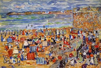 On the Beach St Malo | Maurice Prendergast | oil painting