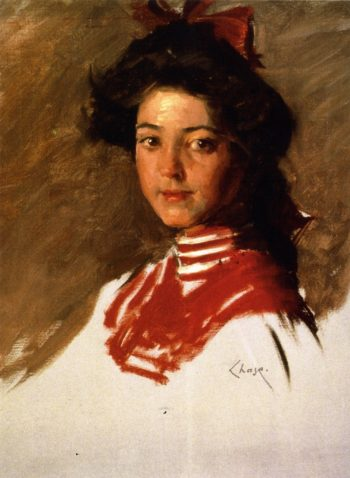 Portrait Sketch Girl in a Middy Blouse | William Merritt Chase | oil painting