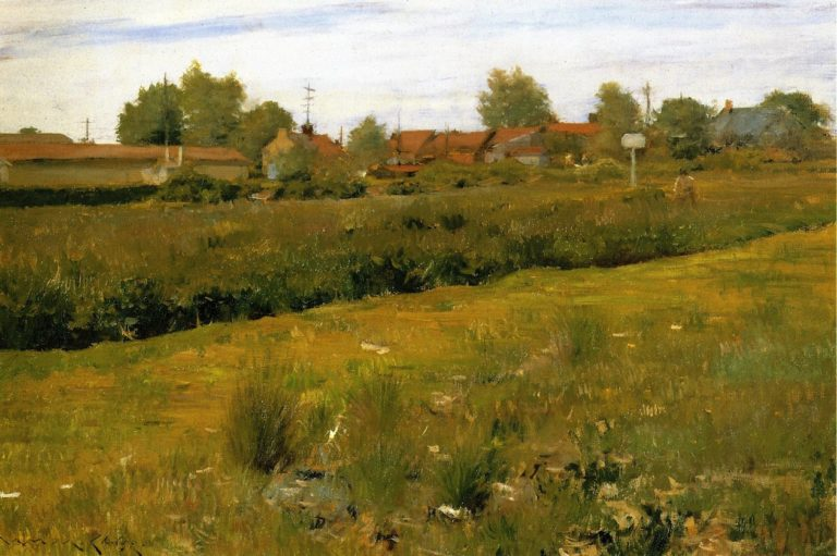 Red Roofs of Bristol Pennsylvania | William Merritt Chase | oil painting