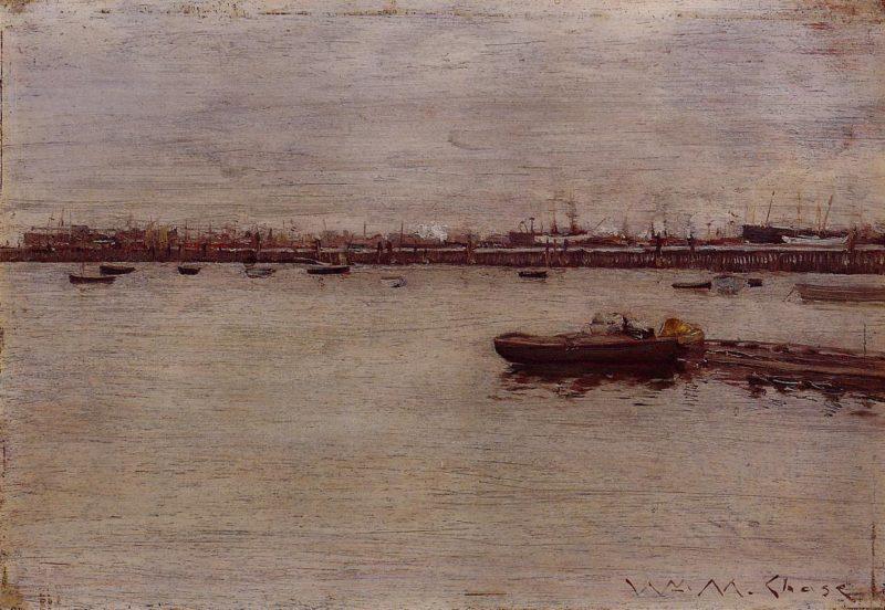 Repair Docks Gowanus Pier | William Merritt Chase | oil painting