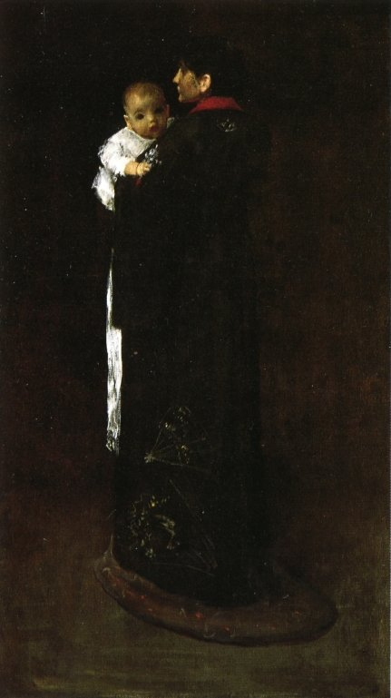 The First Portrait   William Merritt Chase   oil painting