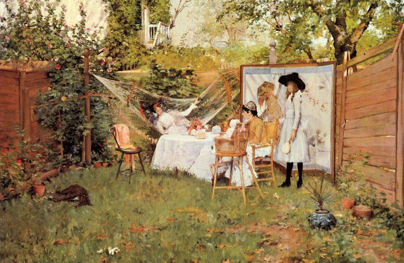 The Open Air Breakfast   William Merritt Chase   oil painting