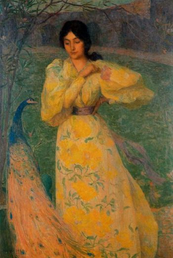 Woman with Peacock | Edmond Francois Aman Jean | oil painting