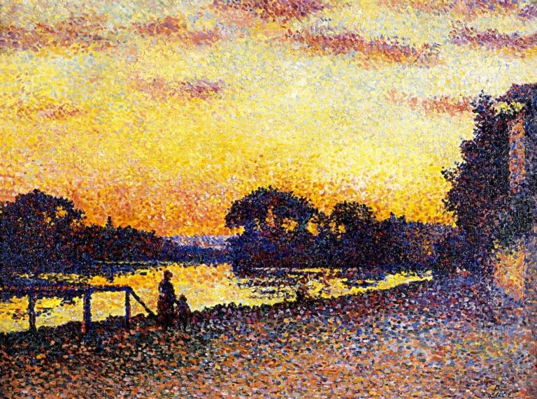 Banks of the Seine at Herblay Sunset | Maximilien Luce | oil painting