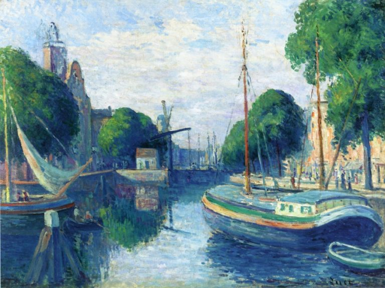 Barges on a Canal at Rotterdam | Maximilien Luce | oil painting
