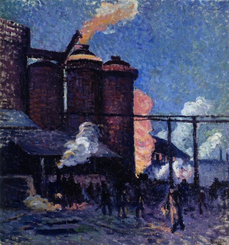 Blast Furnaces in Charleroi 1   Maximilien Luce   oil painting