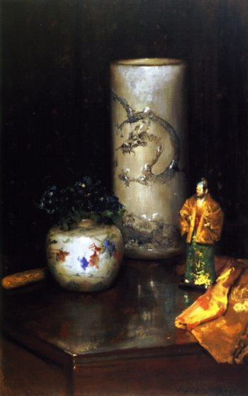 Violets and Still Life | William Merritt Chase | oil painting